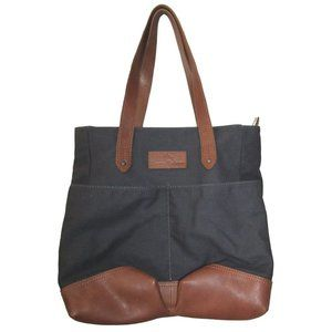 Tommy Bahama Navy Canvas and Brown Leather Tote